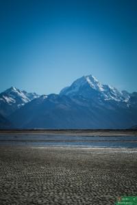 Widok na Mt Cook, delta rzeki Tasman